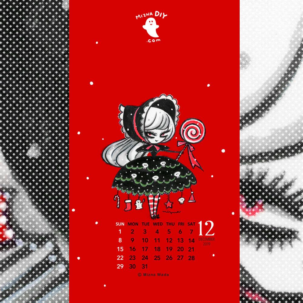 19年12月のカレンダー付き壁紙 スマホ用 無料ダウンロード Mizna Diy