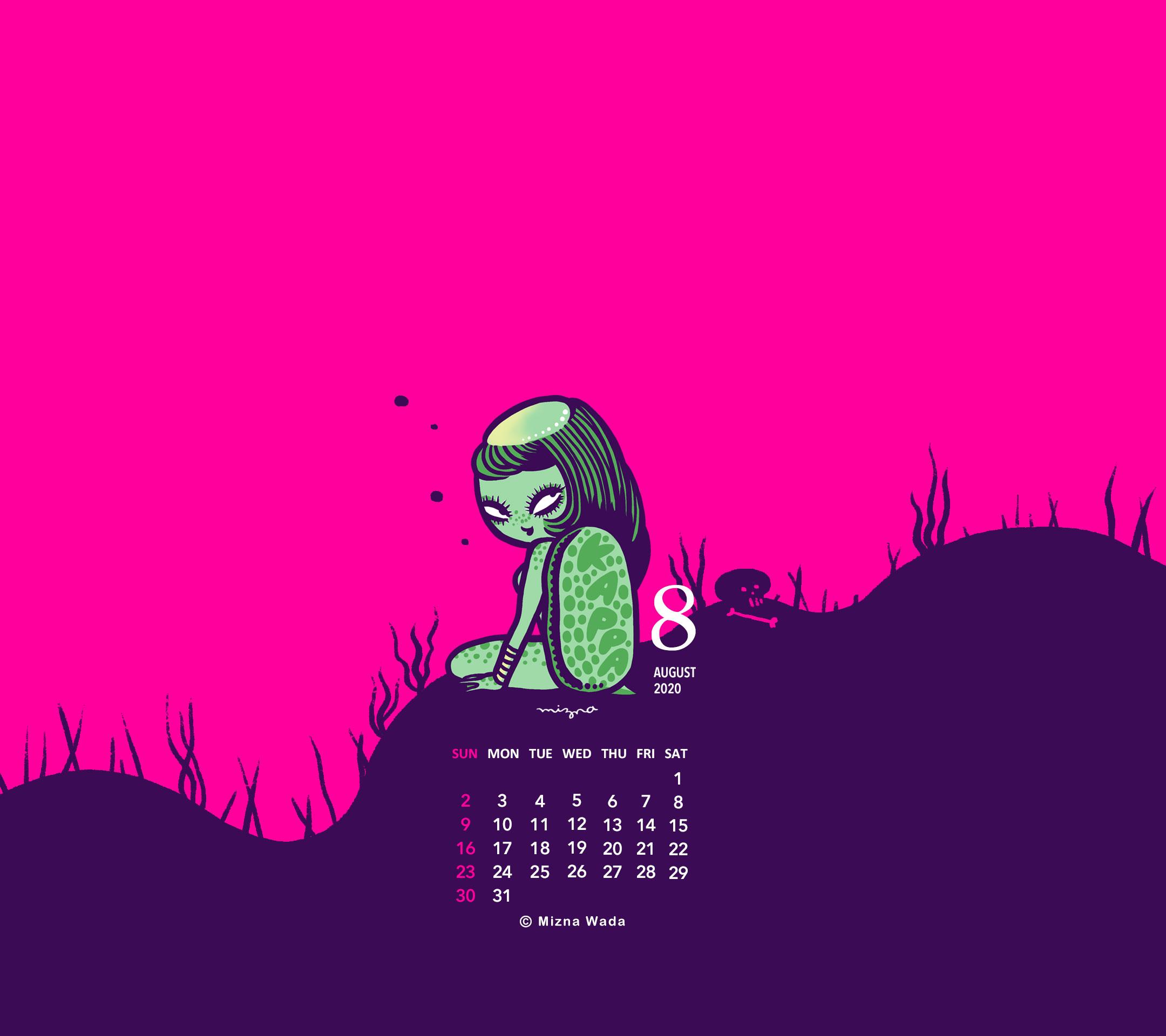 年8月のカレンダー付き壁紙 スマホ用 無料ダウンロード Mizna Diy